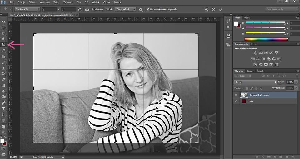czarno-białe zdjęcie photoshop