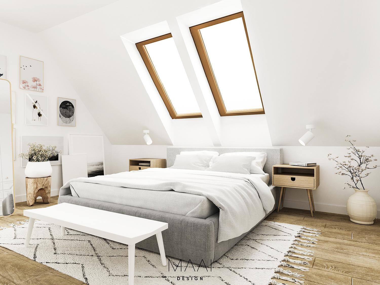 projekty sypialni w stylu skandynawskim